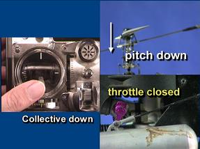 Screen shot of collective down, causing pitch to decrease and throttle to close